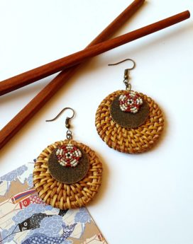 Gebetnout bijoux fantaisie lyon mode tendance bijouterie femme Oullins artisan boucles oreilles miyuki rotin bordeaux creme cuivre