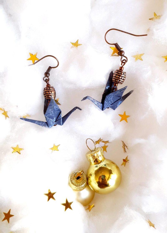 Gebetnout bijoux fantaisie lyon mode tendance bijouterie femme Oullins artisan milky way origami grue bleu