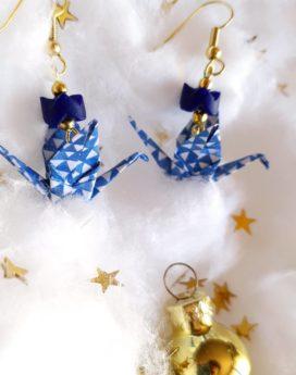 Gebetnout bijoux fantaisie lyon mode tendance bijouterie femme Oullins artisan milky way origami grue bleu triangle