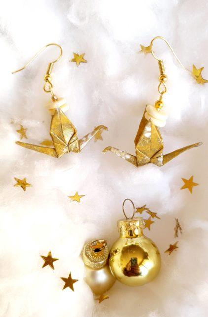 Gebetnout bijoux fantaisie lyon mode tendance bijouterie femme Oullins artisan milky way origami grue doré