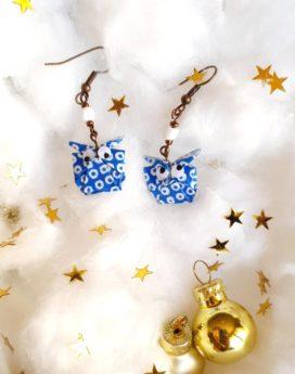 Gebetnout bijoux fantaisie lyon mode tendance bijouterie femme Oullins artisan milky way origami hibou bleu