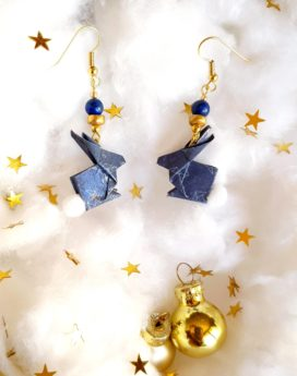 Gebetnout bijoux fantaisie lyon mode tendance bijouterie femme Oullins artisan milky way origami lapin bleu
