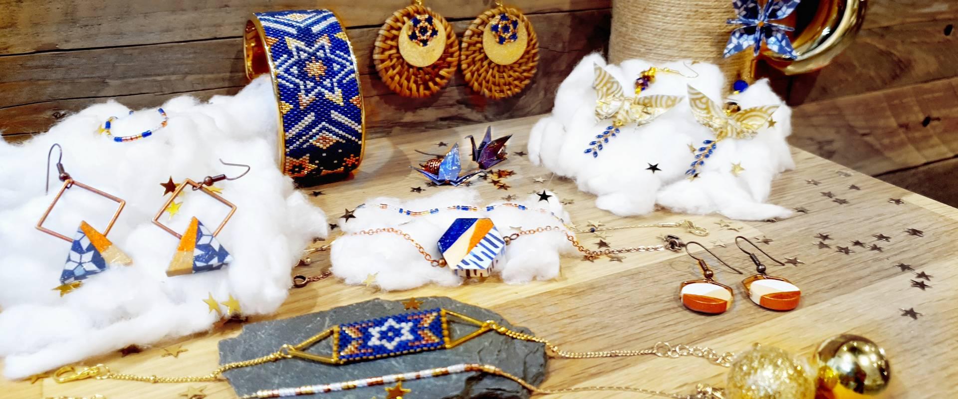 Gebetnout bijoux fantaisie lyon mode tendance bijouterie femme Oullins artisan collection hiver milky way bleu doré cuivré étoile