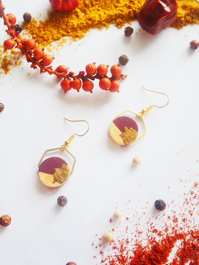 Gebetnout bijoux fantaisie lyon mode tendance bijouterie femme Annecy artisan Licancabur bois rond hexagone prune feuille or