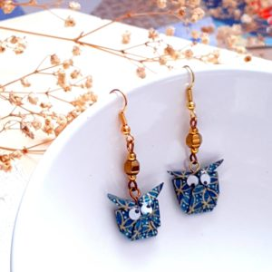 Gebetnout bijoux fantaisie lyon mode tendance bijouterie femme Annecy artisan origami hibou bleu canard doré