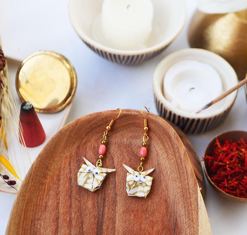 Gebetnout bijoux fantaisie lyon mode tendance bijouterie femme Annecy artisan watthanaram ayutthaya origami hibou corail dore or
