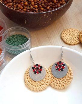 Gebetnout bijoux fantaisie lyon mode tendance bijouterie femme Oullins artisan boucles oreilles miyuki rotin rouge noir argenté