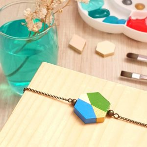 Gebetnout bijoux fantaisie lyon mode tendance bijouterie femme annecy artisan bois japonais géométrie hexagone bracelet vert bleu bronze