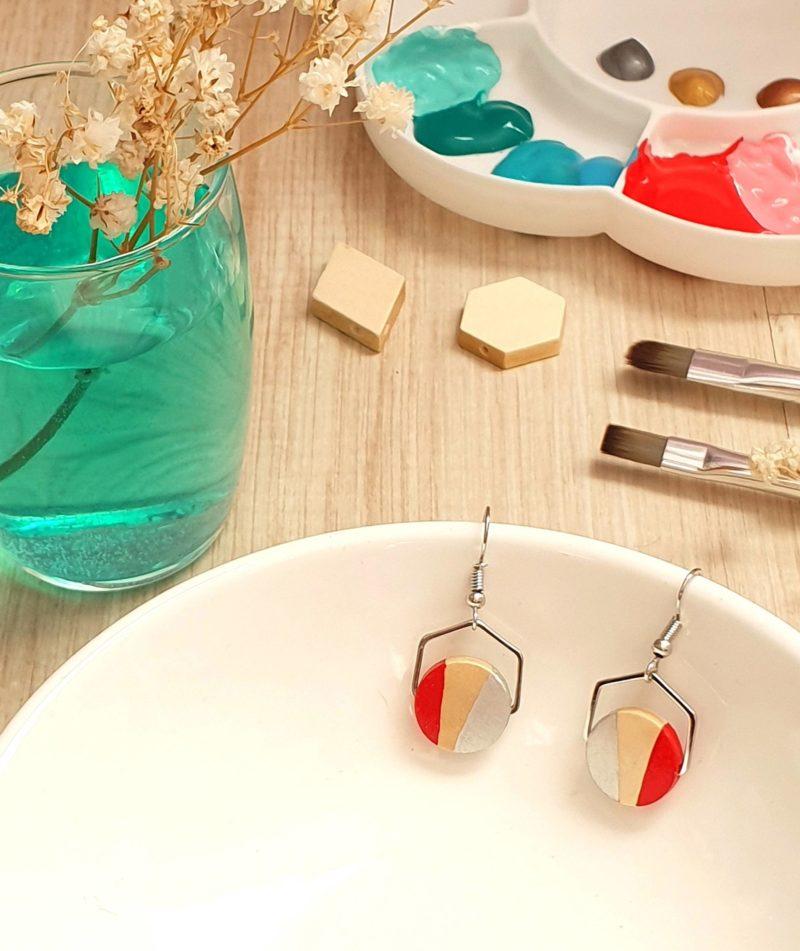 Gebetnout bijoux fantaisie lyon mode tendance bijouterie femme annecy artisan bois japonais géométrie hexagone rouge argenté