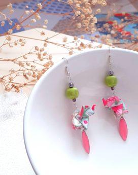 Gebetnout bijoux fantaisie lyon mode tendance bijouterie femme annecy artisan origami éléphant rose vert anis