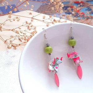 Gebetnout bijoux fantaisie lyon mode tendance bijouterie femme annecy artisan origami elephant rose vert anis