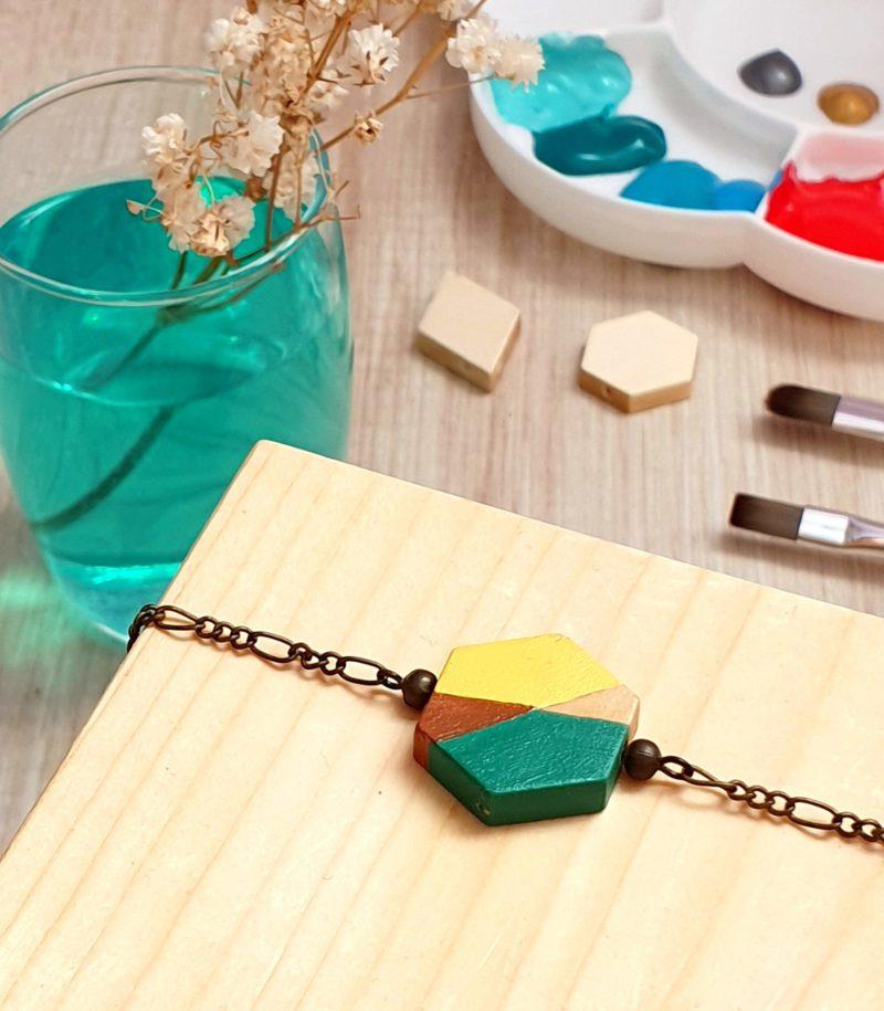 Gebetnout bijoux fantaisie lyon mode tendance bijouterie femme annecy artisan bois japonais géométrie hexagone vert jaune bracelet