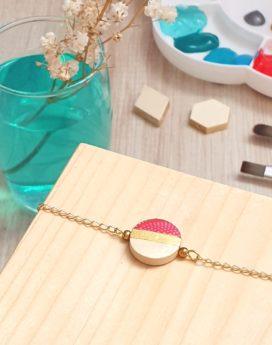 Gebetnout bijoux fantaisie lyon mode tendance bijouterie femme annecy artisan bois japonais géométrie rond rouge doré bracelet