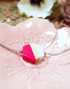 Gebetnout bijoux fantaisie lyon mode tendance bijouterie femme Annecy artisan Incahuasi bracelet bois hexagone rose