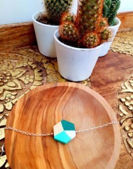 Gebetnout bijoux fantaisie lyon mode tendance bijouterie femme Annecy artisan Incahuasi bracelet bois hexagone vert