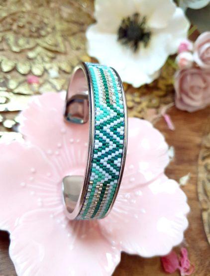 Gebetnout bijoux fantaisie lyon mode tendance bijouterie femme Annecy artisan Incahuasi bracelet manchette miyuki vert blanc argent