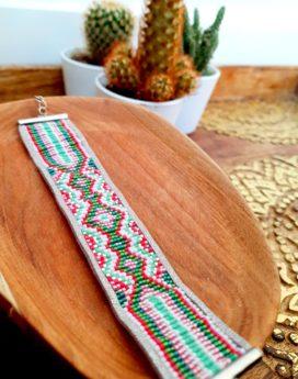 Gebetnout bijoux fantaisie Lyon mode tendance bijouterie femme Annecy artisan Incahuasi bracelet miyuki tissage rose vert argent