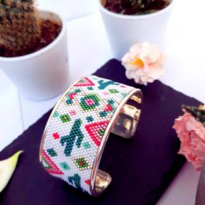 Gebetnout bijoux fantaisie lyon mode tendance bijouterie femme Annecy artisan Incahuasi bracelet miyuki tissage rose vert argent manchette