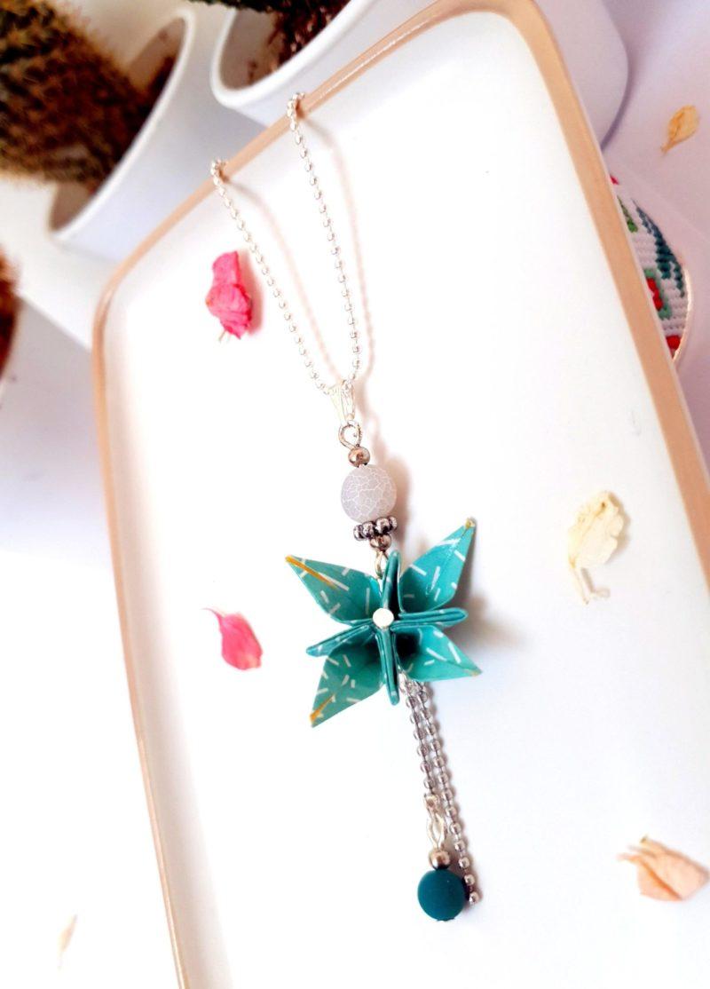Gebetnout bijoux fantaisie lyon mode tendance bijouterie femme Annecy artisan Incahuasi collier origami fleur verte