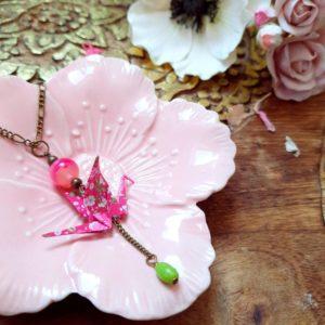 Gebetnout bijoux fantaisie lyon mode tendance bijouterie femme Annecy artisan Incahuasi collier origami grue rose