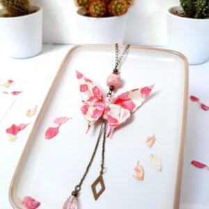 Gebetnout bijoux fantaisie lyon mode tendance bijouterie femme Annecy artisan Incahuasi collier origami papillon rose sautoir bronze