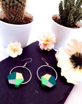 Gebetnout bijoux fantaisie lyon mode tendance bijouterie femme Annecy artisan Incahuasi géométrie bois hexagone argent vert