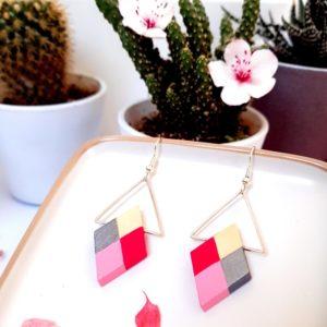 Gebetnout bijoux fantaisie lyon mode tendance bijouterie femme Annecy artisan Incahuasi géométrie bois losange argent rose
