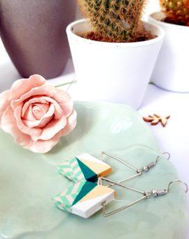 Gebetnout bijoux fantaisie lyon mode tendance bijouterie femme Annecy artisan Incahuasi géométrie bois losange argent vert