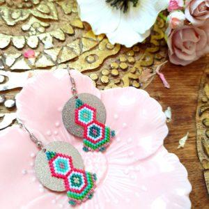 Gebetnout bijoux fantaisie lyon mode tendance bijouterie femme Annecy artisan Incahuasi géométrie rond miyuki rose vert argent