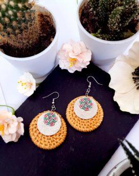 Gebetnout bijoux fantaisie lyon mode tendance bijouterie femme Annecy artisan Incahuasi géométrie rond miyuki rose vert argent rotin
