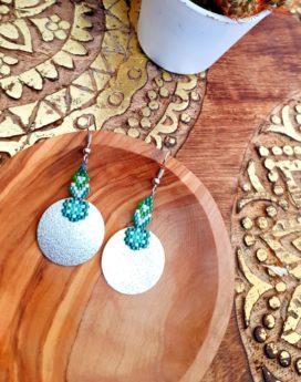 Gebetnout bijoux fantaisie lyon mode tendance bijouterie femme Annecy artisan Incahuasi géométrie rond miyuki vert argent