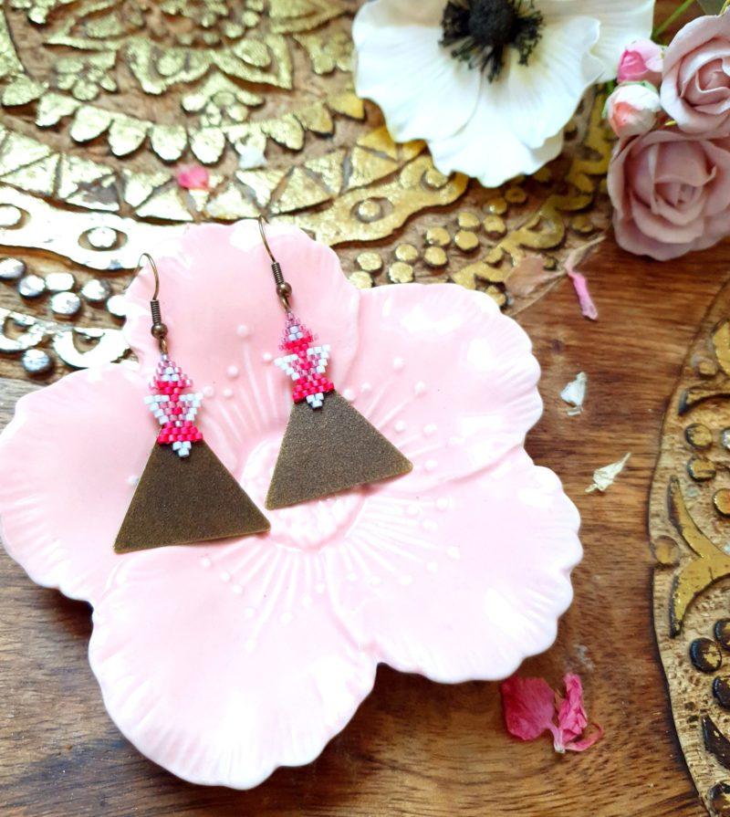 Gebetnout bijoux fantaisie lyon mode tendance bijouterie femme Annecy artisan Incahuasi géométrie triangle miyuki rose bronze