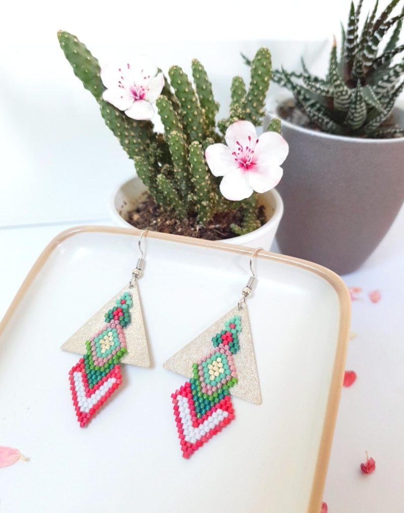 Gebetnout bijoux fantaisie lyon mode tendance bijouterie femme Annecy artisan Incahuasi géométrie triangle miyuki rose vert argent