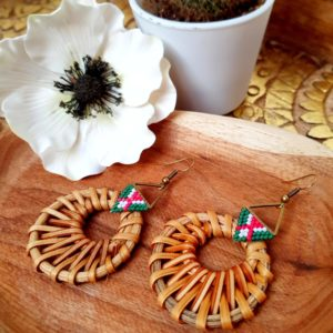 Gebetnout bijoux fantaisie lyon mode tendance bijouterie femme Annecy artisan Incahuasi miyuki rose vert blanc rotin