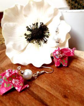 Gebetnout bijoux fantaisie lyon mode tendance bijouterie femme Annecy artisan Incahuasi origami éléphant rose
