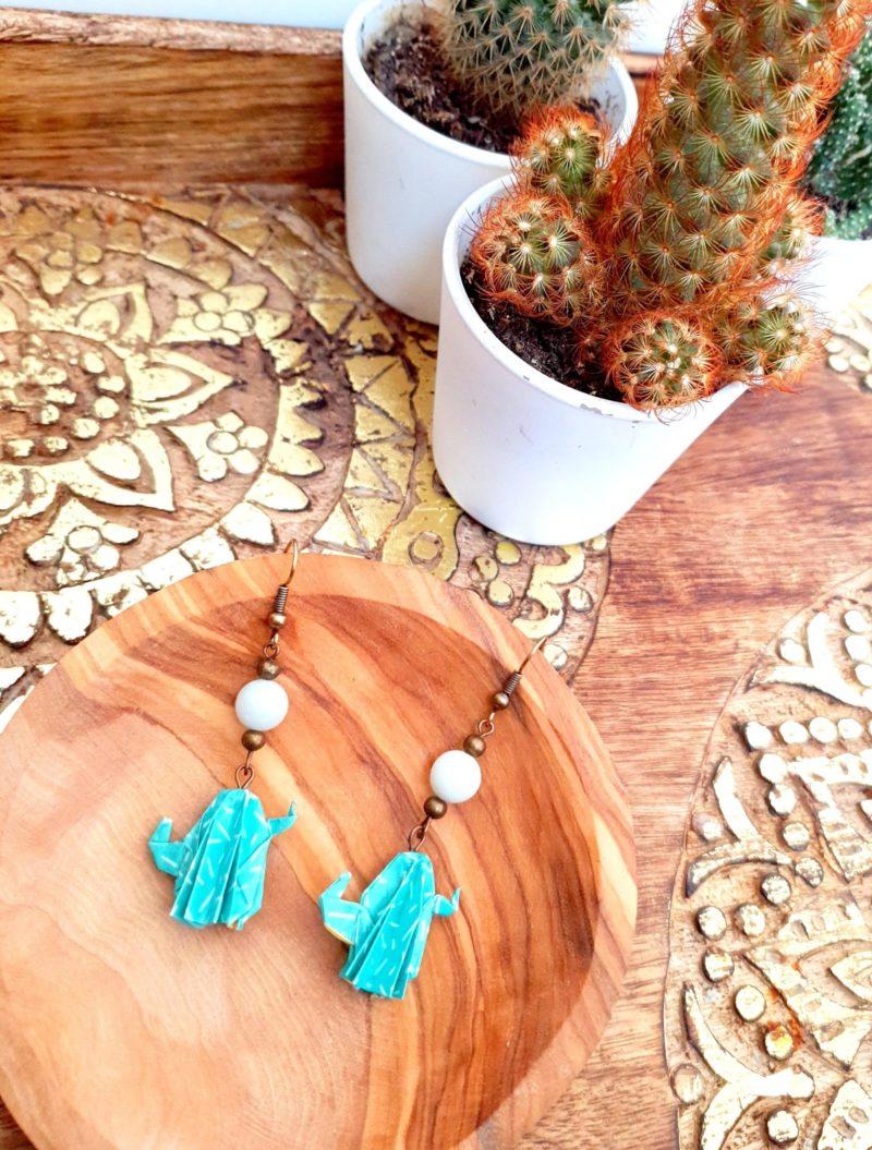 Gebetnout bijoux fantaisie lyon mode tendance bijouterie femme Annecy artisan Incahuasi origami cactus turquoise