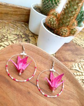 Gebetnout bijoux fantaisie lyon mode tendance bijouterie femme Annecy artisan Incahuasi origami grue créole rose argent