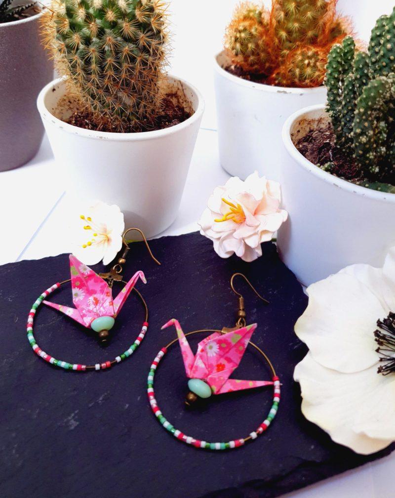 Gebetnout bijoux fantaisie lyon mode tendance bijouterie femme Annecy artisan Incahuasi origami grue créole rose vert argent