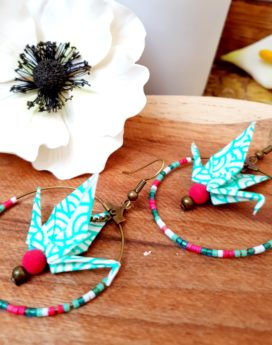 Gebetnout bijoux fantaisie lyon mode tendance bijouterie femme Annecy artisan Incahuasi origami grue créole rose vert bronze