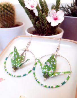 Gebetnout bijoux fantaisie lyon mode tendance bijouterie femme Annecy artisan Incahuasi origami grue créole vert argent