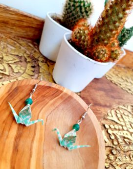 Gebetnout bijoux fantaisie lyon mode tendance bijouterie femme Annecy artisan Incahuasi origami grue vert agate