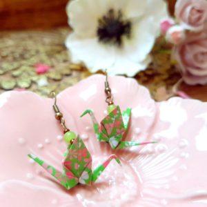 Gebetnout bijoux fantaisie lyon mode tendance bijouterie femme Annecy artisan Incahuasi origami grue vert fleuri rose