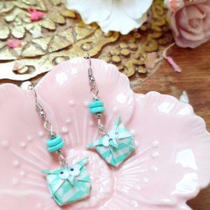 Gebetnout bijoux fantaisie lyon mode tendance bijouterie femme Annecy artisan Incahuasi origami hibou vert blanc