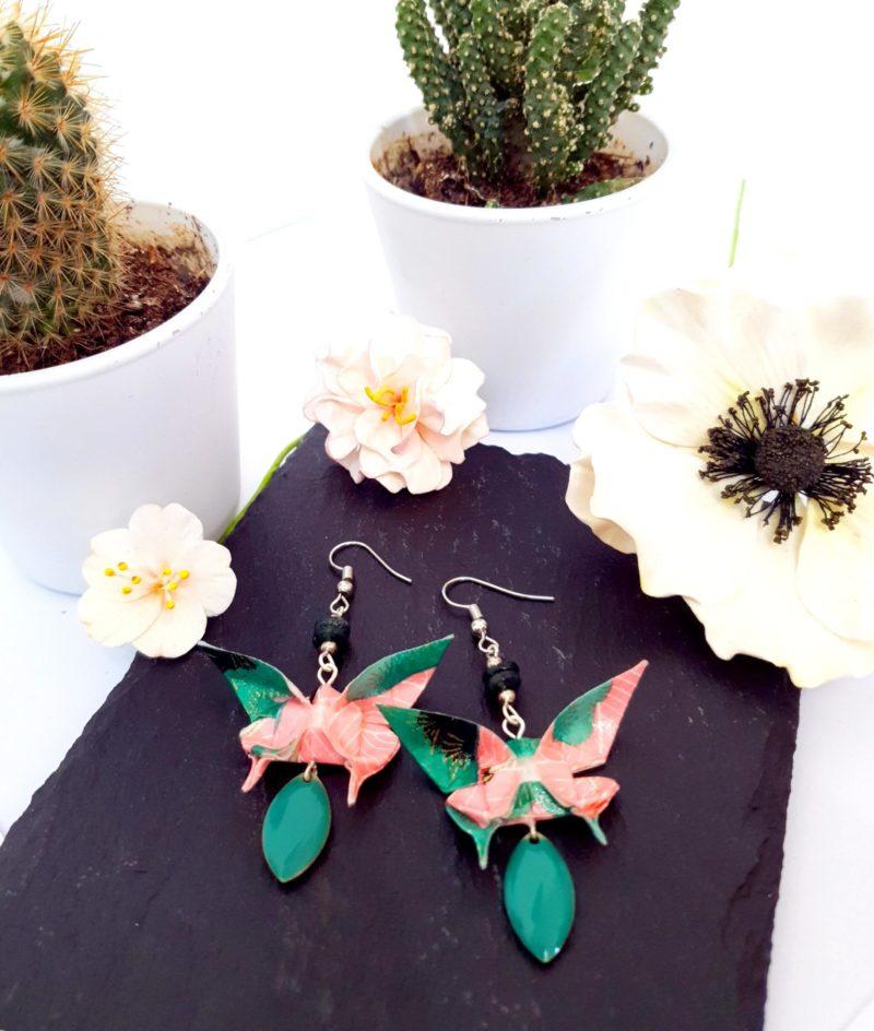 Gebetnout bijoux fantaisie lyon mode tendance bijouterie femme Annecy artisan Incahuasi origami papillon rose vert agate