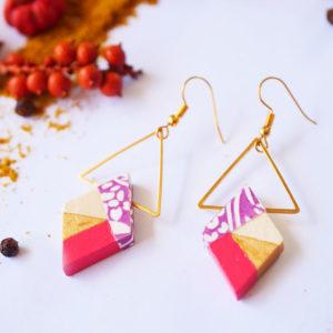 Gebetnout bijoux fantaisie lyon mode tendance bijouterie femme Annecy artisan Licancabur bois rond hexagone rouge dore papier