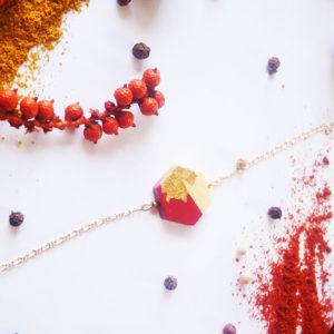 Gebetnout bijoux fantaisie lyon mode tendance bijouterie femme Annecy artisan Licancabur bracelet bois hexagone feuille or rouge dore