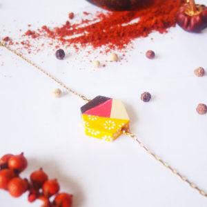 Gebetnout bijoux fantaisie lyon mode tendance bijouterie femme Annecy artisan Licancabur bracelet bois hexagone papier jaune marron