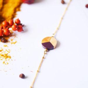 Gebetnout bijoux fantaisie lyon mode tendance bijouterie femme Annecy artisan Licancabur bracelet bois rond marron dore