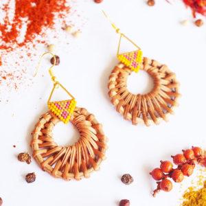 Gebetnout bijoux fantaisie lyon mode tendance bijouterie femme Annecy artisan Licancabur miyuki rose dore jaune rotin