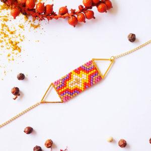 Gebetnout bijoux fantaisie lyon mode tendance bijouterie femme Annecy artisan Licancabur miyuki triangle rouge jaune violet dore